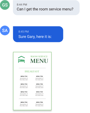 conversation showing a text chat between guest and hotel staff. guests want the room menu and staff send it