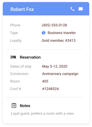 widget showing a guests detailed info